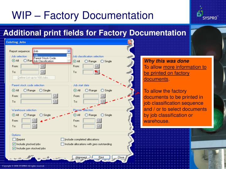 Additional print fields for Factory Documentation