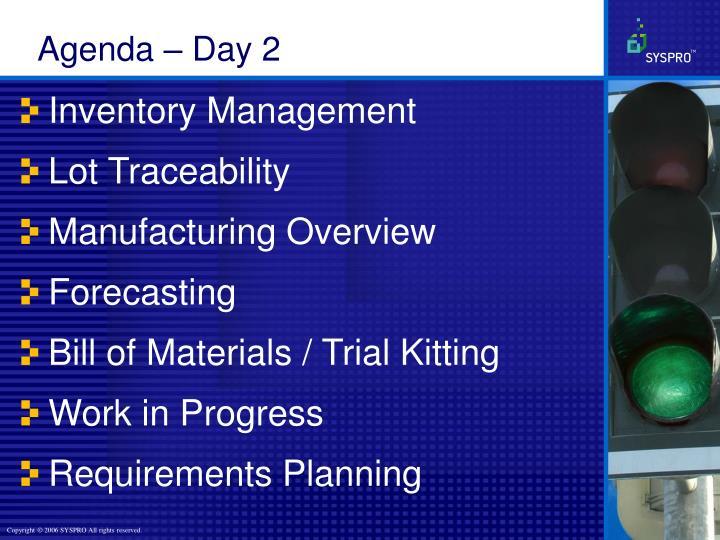 Agenda – Day 2