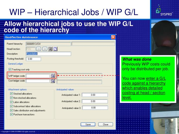 Allow hierarchical jobs to use the WIP G/L code of the hierarchy