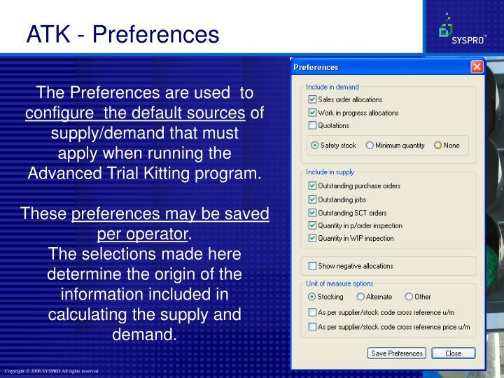 ATK - Preferences