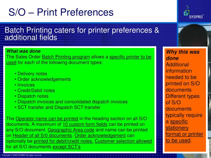 S/O – Print Preferences