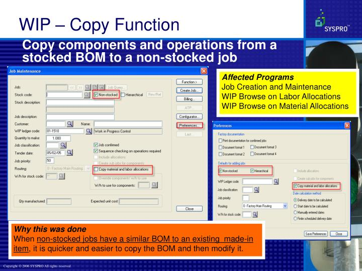 Copy components and operations from a stocked BOM to a non-stocked job