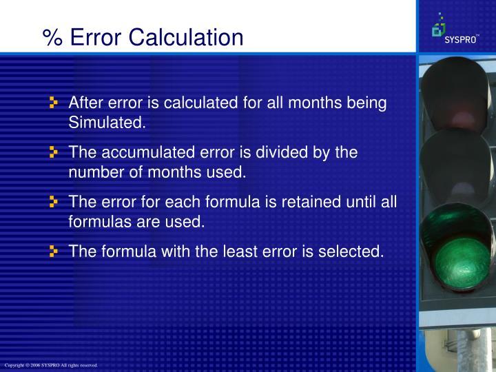 % Error Calculation