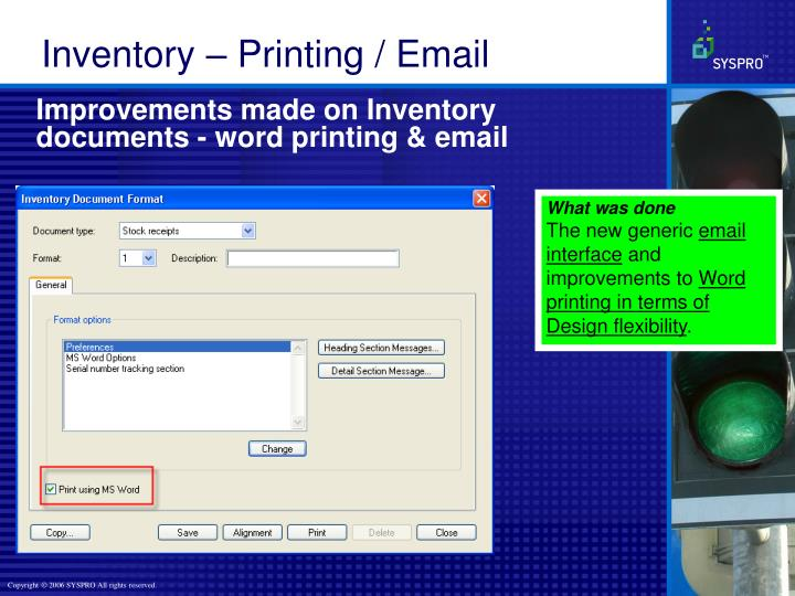 Improvements made on Inventory documents - word printing & email