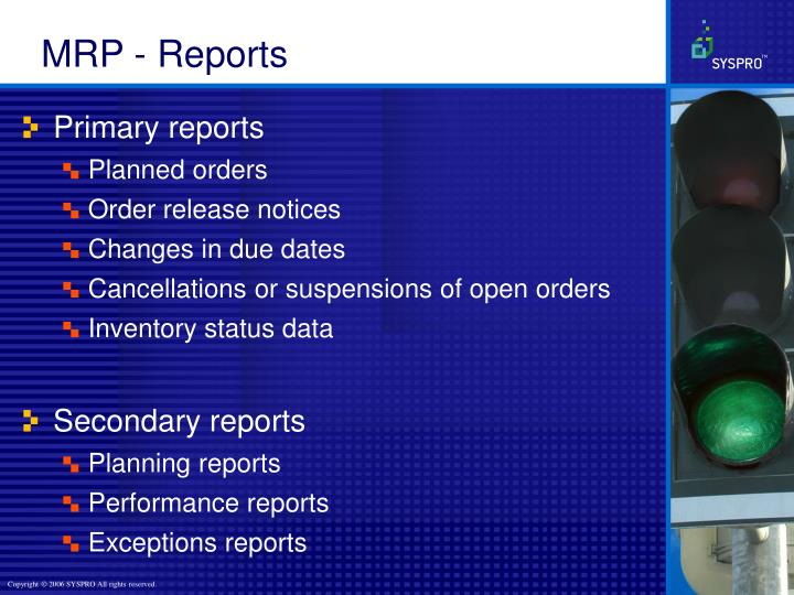 MRP - Reports