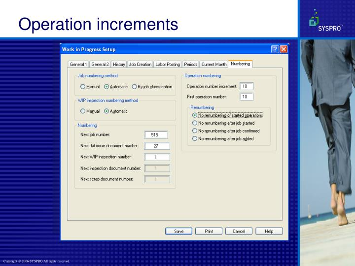 Operation increments