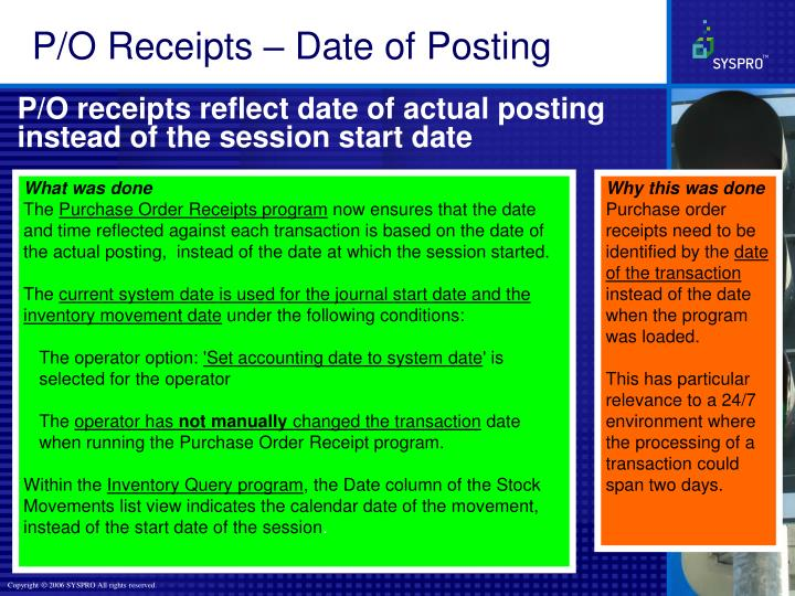 P/O Receipts – Date of Posting
