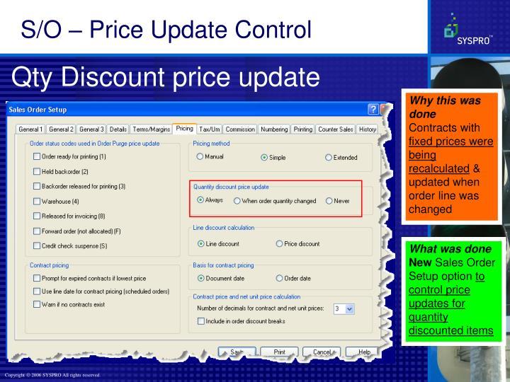 S/O – Price Update Control