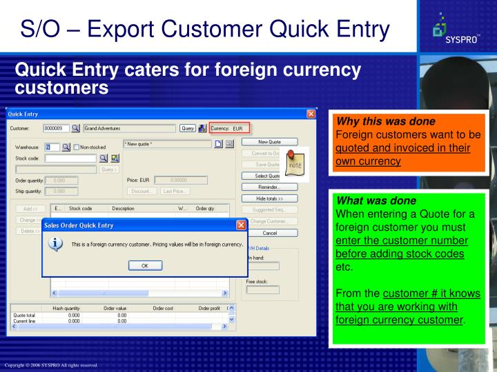 S/O – Export Customer Quick Entry