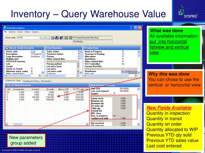 Inventory – Query Warehouse Value