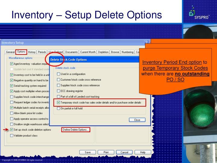Inventory – Setup Delete Options