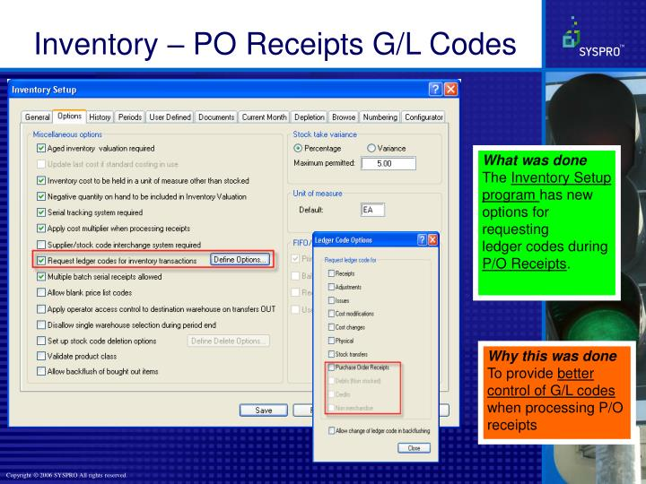 Inventory – PO Receipts G/L Codes