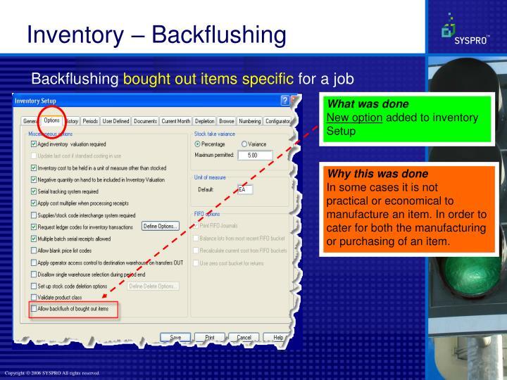 Inventory – Backflushing