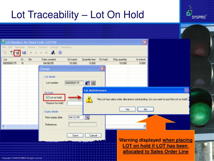 Lot Traceability – Lot On Hold