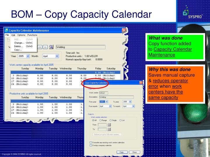 BOM – Copy Capacity Calendar