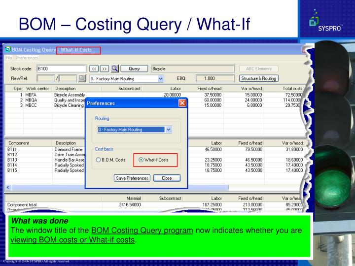 BOM – Costing Query / What-If