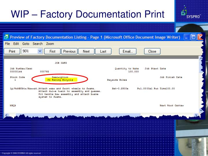 WIP – Factory Documentation Print