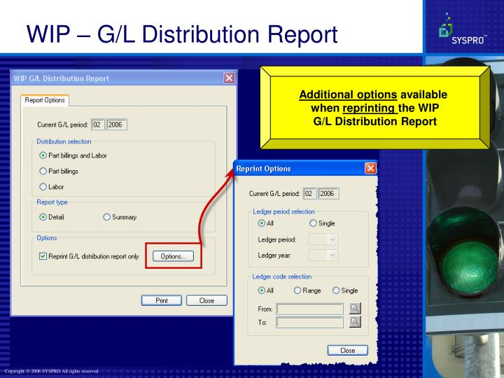 WIP – G/L Distribution Report