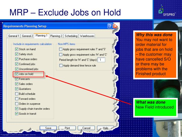 MRP – Exclude Jobs on Hold