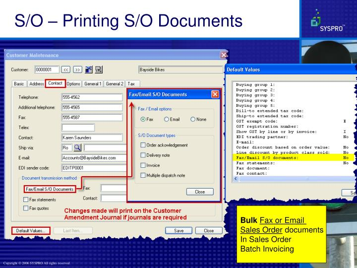 S/O – Printing S/O Documents