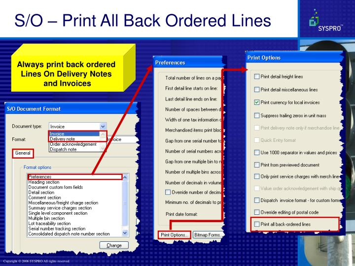 S/O – Print All Back Ordered Lines