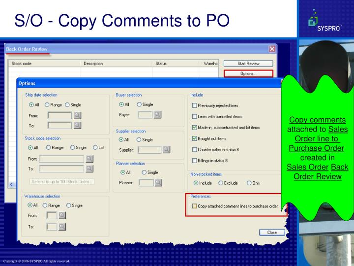 S/O - Copy Comments to PO