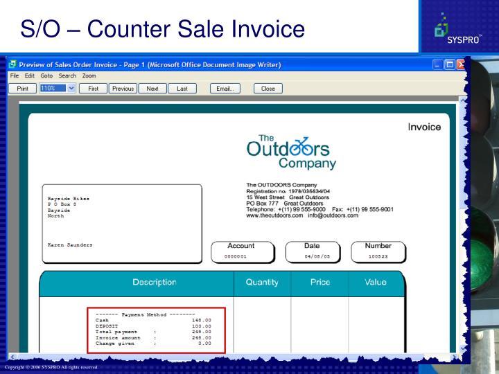 S/O – Counter Sale Invoice