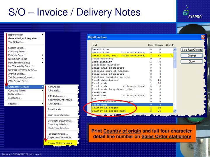 S/O – Invoice / Delivery Notes