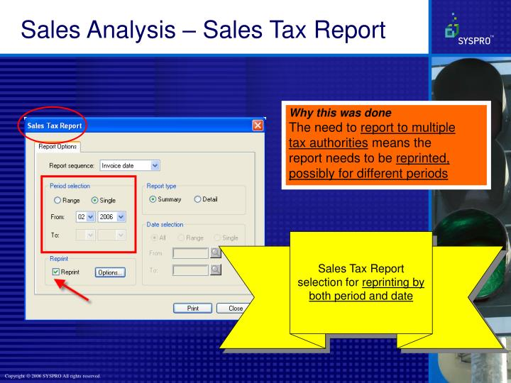 Sales Analysis – Sales Tax Report