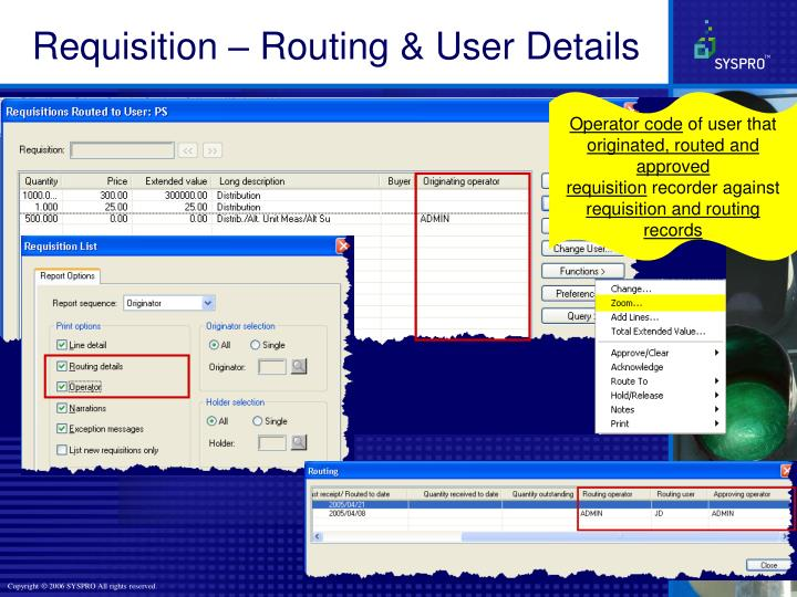 Requisition – Routing & User Details