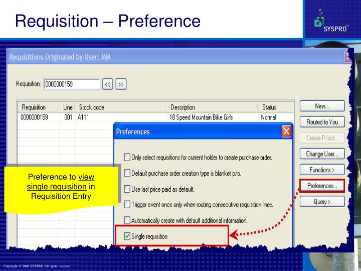 Requisition – Preference