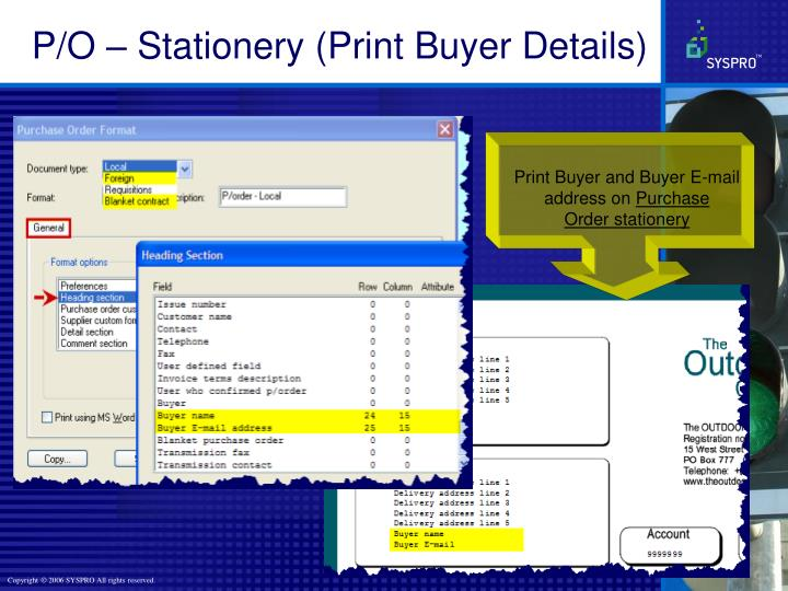P/O – Stationery (Print Buyer Details)