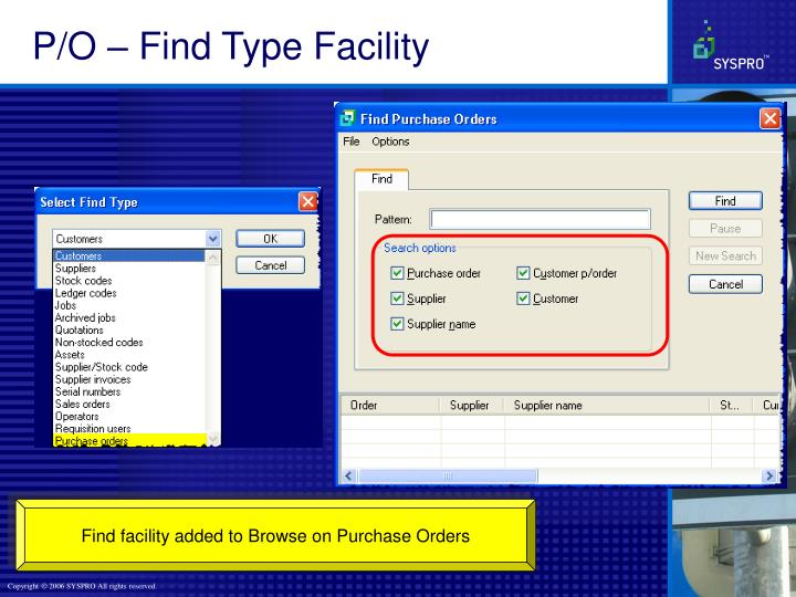 P/O – Find Type Facility
