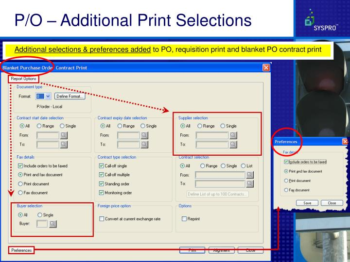 P/O – Additional Print Selections