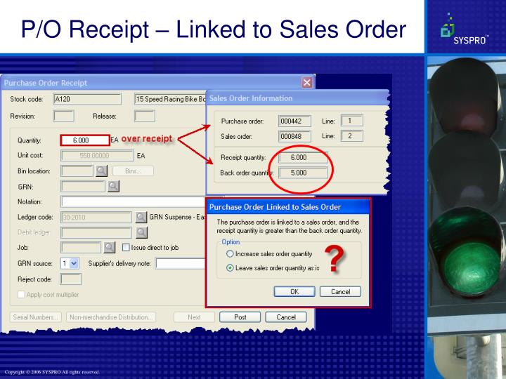P/O Receipt – Linked to Sales Order