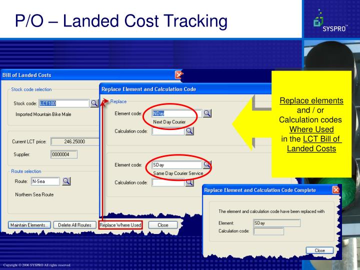 P/O – Landed Cost Tracking