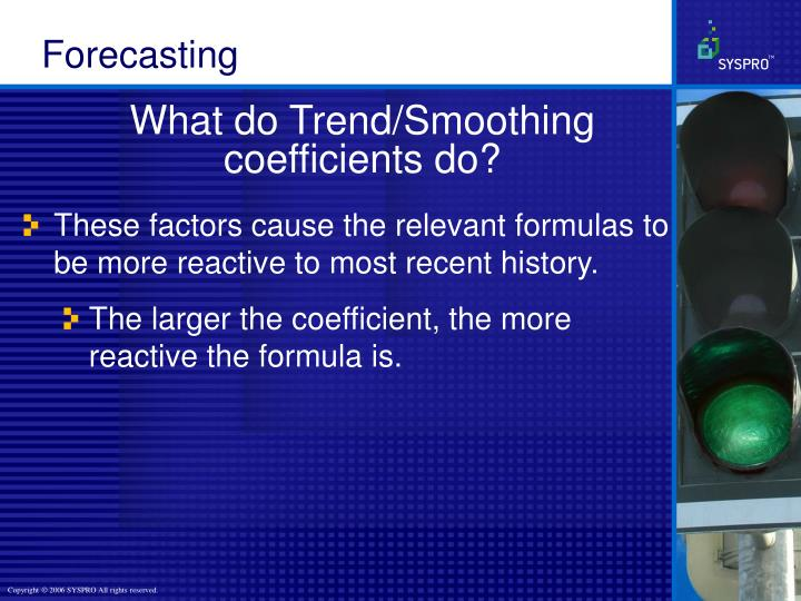 What do Trend/Smoothing coefficients do?