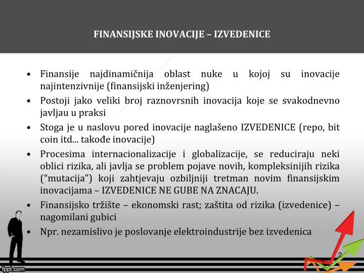 FINANSIJSKE INOVACIJE – IZVEDENICE