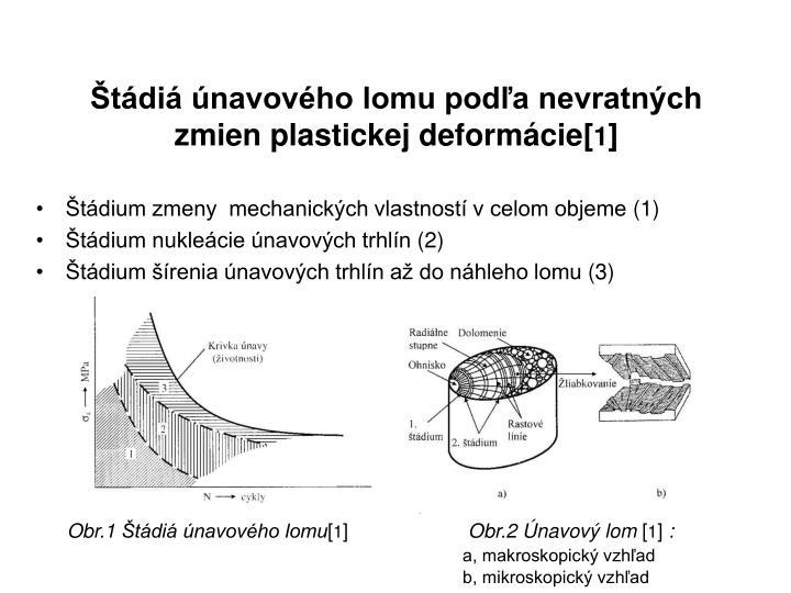 Štádiá únavového lomu podľa nevratných zmien plastickej deformácie