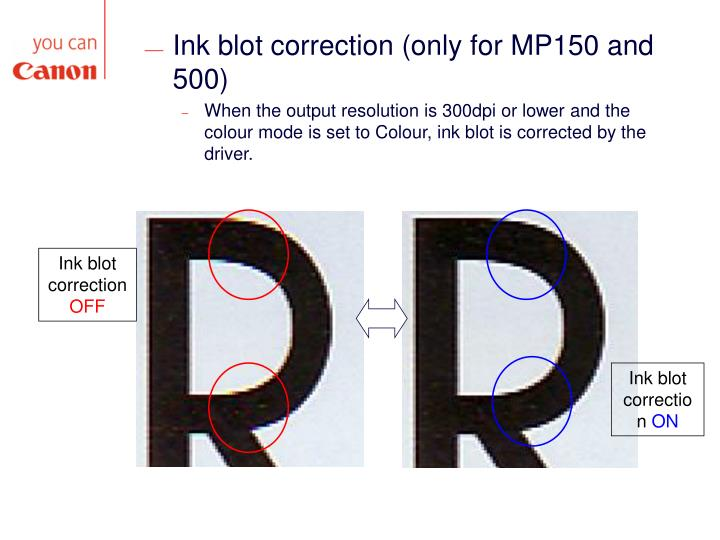 Ink blot correction