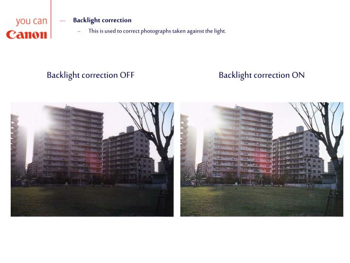 Backlight correction