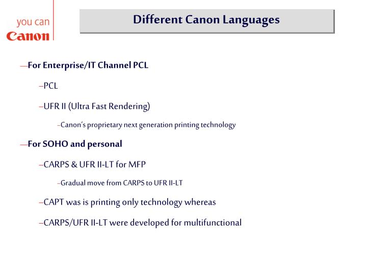 Different Canon Languages