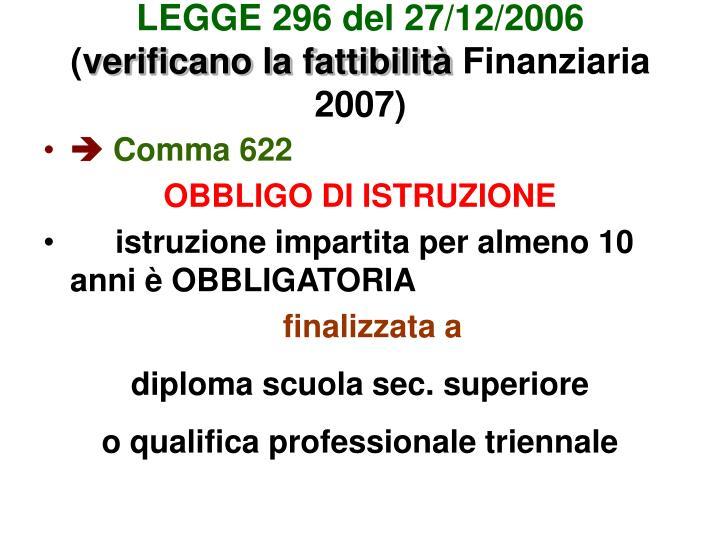 LEGGE 296 del 27/12/2006