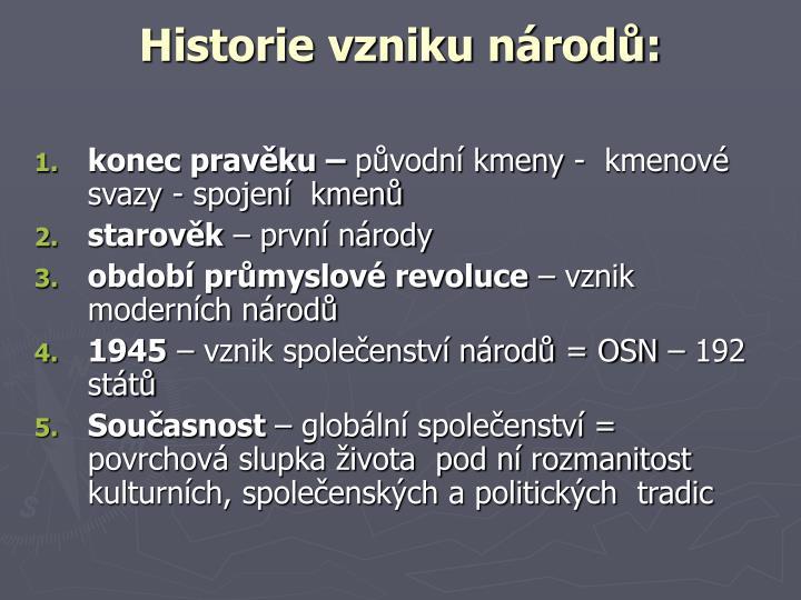 Historie vzniku národů:
