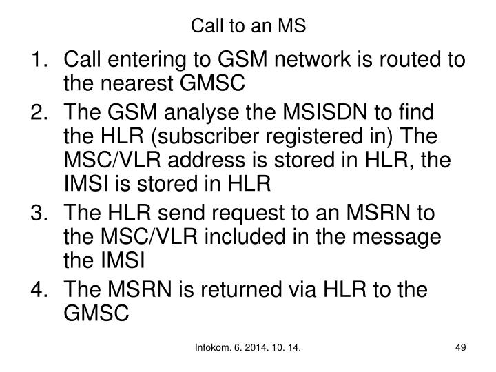 Call to an MS