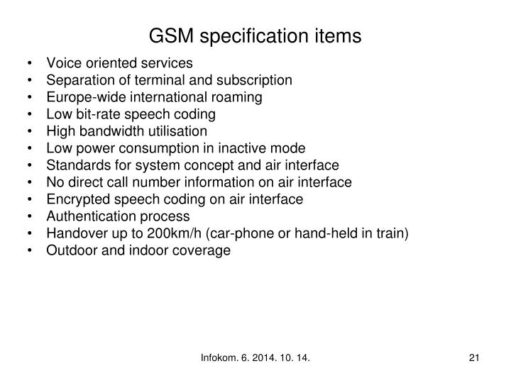 GSM specification items