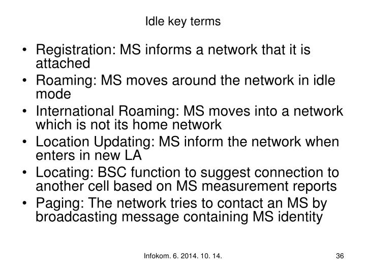 Idle key terms