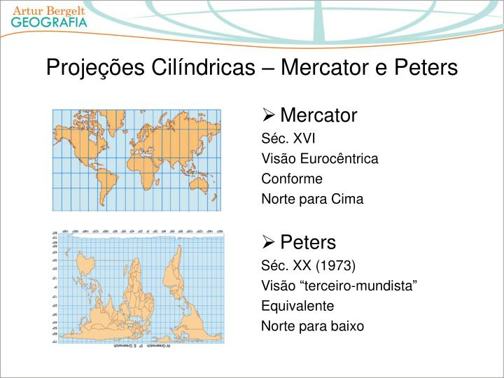 Projeções Cilíndricas – Mercator e Peters