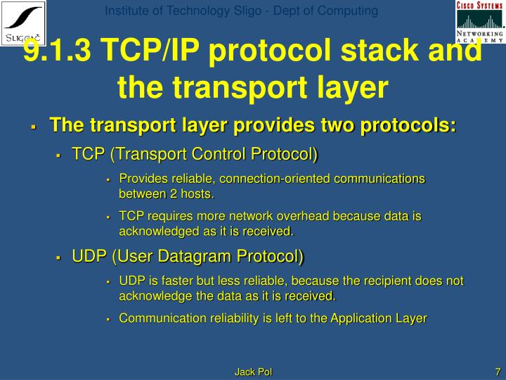 9.1.3 TCP/IP protocol stack and the transport layer