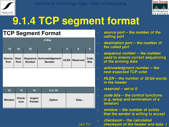 9.1.4 TCP segment format